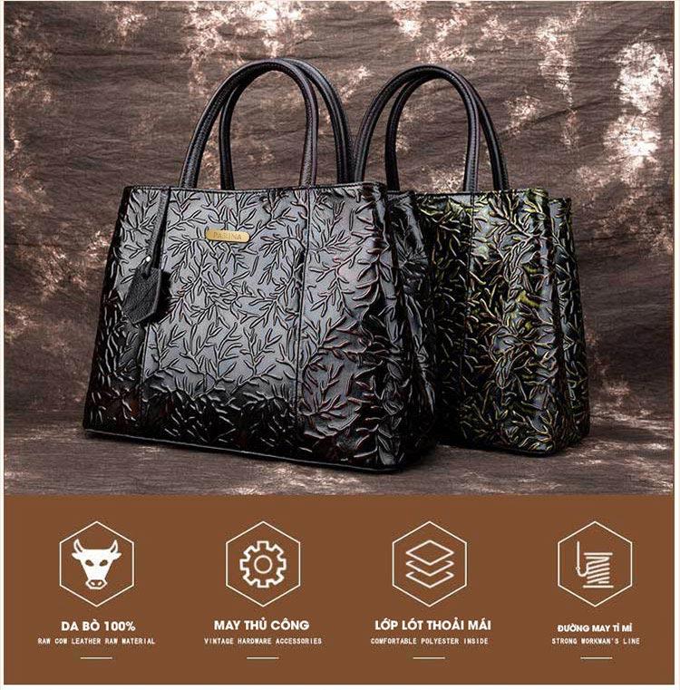 Túi xách da thật dập vân hoa văn nổi 3D phong cách cổ điển T19910 (1)