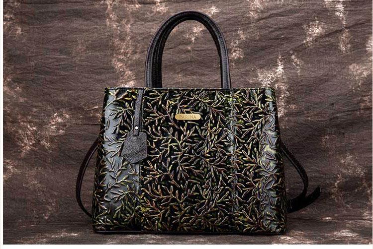 Túi xách da thật dập vân hoa văn nổi 3D phong cách cổ điển T19910 (12)