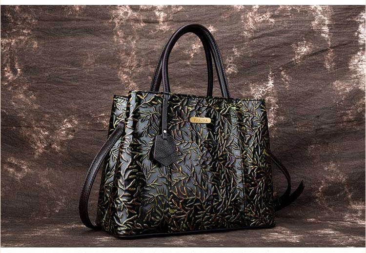 Túi xách da thật dập vân hoa văn nổi 3D phong cách cổ điển T19910 (13)