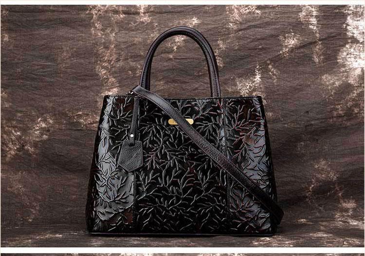 Túi xách da thật dập vân hoa văn nổi 3D phong cách cổ điển T19910 (16)