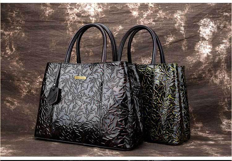 Túi xách da thật dập vân hoa văn nổi 3D phong cách cổ điển T19910 (11)