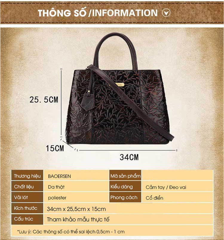 Túi xách da thật dập vân hoa văn nổi 3D phong cách cổ điển T19910 (3)