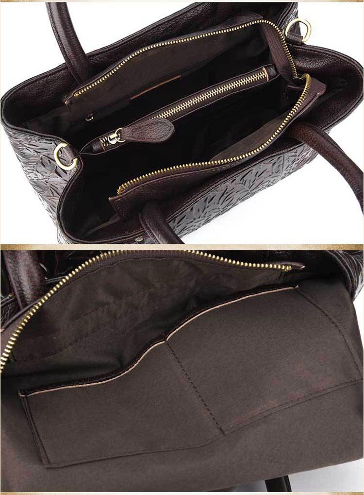 Túi xách da thật dập vân hoa văn nổi 3D phong cách cổ điển T19910 (20)