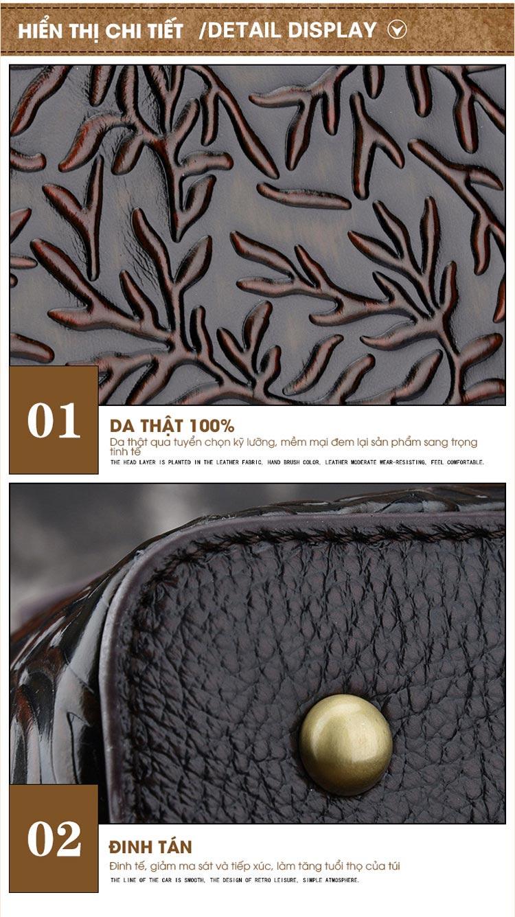 Túi xách da thật dập vân hoa văn nổi 3D phong cách cổ điển T19910 (4)