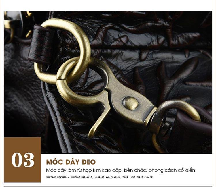 Túi xách da thật dập vân hoa văn nổi 3D phong cách cổ điển T19910 (5)