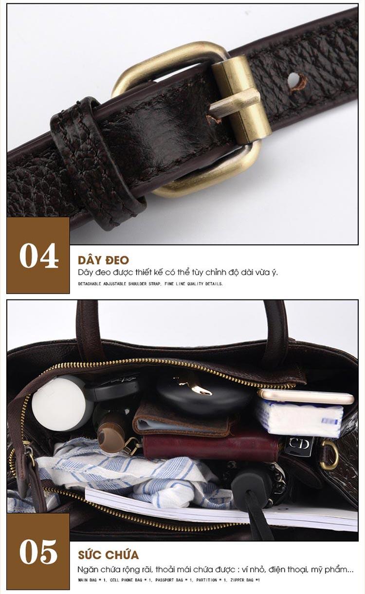Túi xách da thật dập vân hoa văn nổi 3D phong cách cổ điển T19910 (6)