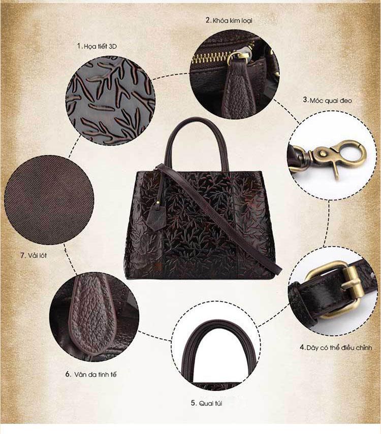 Túi xách da thật dập vân hoa văn nổi 3D phong cách cổ điển T19910 (2)
