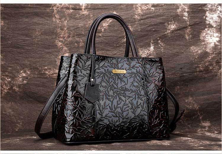 Túi xách da thật dập vân hoa văn nổi 3D phong cách cổ điển T19910 (8)